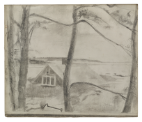 Edwin Dickinson <i>House, Cove and Great Island</i> 1962 Graphite on paper 9 5/8 x 11 1/4 inches; 24 x 29 cm