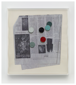 <i>Painted coins</i>  2014 Ink and enamel on paper in artist's frame 32 x 34 1/2 inches; 81 x 88 cm