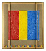 <i>Study for Merce</i> 2002 Encaustic on canvas and wood with collage and objects 33 1/2 x 30 5/8 x 2 3/4 - 5 3/8 inches (variable); 85.5 x 78.5 x 7 - 13.5 cm (variable)