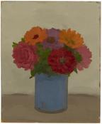 <i>Zinnias and Pink Rose in Blue Pot</i> 1983 Oil on wood 16 3/8 x 13 inches; 42 x 33 cm