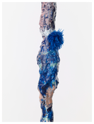 <i>Ooo</i> (detail) 2014 Hand-painted bronze and pompom on painted MDF pedestal 115 1/2 x 21 5/8 x 19 3/4 inches; 293 x 55 x 50 cm