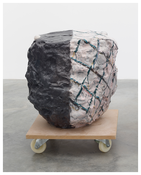 <i>The Glasses I</i>  2014 Hand-painted bronze and pompom on MDF base with wheels 29 1/4 x 22 7/8 x 24 3/8 inches; 74 x 58 x 62 cm