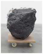 <I>The Glasses II</i> 2014 Hand-painted bronze and pompom on MDF base with wheels 29 1/4 x 22 7/8 x 24 3/8 inches; 74 x 58 x 62 cm