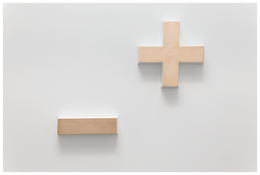 <i>Either Side of Nothing</i> 2014 Cast bronze and paint Plus: 17 7/8 x 17 7/8 x 2 3/4 inches; 45 x 45 x 7 cm Minus: 4 3/8 x 15 3/4 x 2 3/4 inches; 11 x 40 x 7 cm