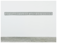 <i>At Times There Are No Words</i> 2012 Cast aluminum and paint 7 7/8 x 125 1/2 x 1 inches; 20 x 319 x 3 cm