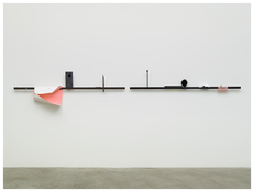 <i>You Are Quiet, I Will Be Too</i> 2014 Steel, pompom, paper, fabric, and wood Left: 14 3/4 x 79 1/2 x 3 3/8 inches; 38 x 202 x 9 cm Right: 13 3/8 x 79 1/2 x 5 1/2 inches; 34 x 202 x 14 cm