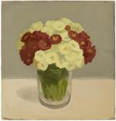 <i>Yellow and Red Primroses in Glass Jar</i> 1978 Oil on canvas on board 10 7/8 x 10 3/8 inches; 27 x 26 cm
