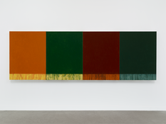 <I>River 4</i> 2014 Oil on linen, four panels Each panel: 48 x 36 inches; 122 x 91 cm Overall: 48 x 144 inches; 122 x 366 cm