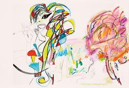 Rachel Harrison <i>Unfinished Masterpiece One</i> 2014 Mixed media on inkjet paper 13 x 18 1/2 inches; 33 x 47 cm