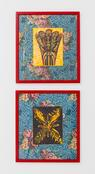 Jim Falconer <i>Untitled</i>, 1968 & <i>Untitled</i>, 1968 Silkscreen mounted on oil-painted linoleum in artist's frame with hanging tag 24 1/2 x 21 1/2 inches; 62 x 55 cm (each)