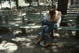 Nan Goldin <I>Suzanne and Philippe on the bench,Tompkins Square Park, NYC</i> 1983  Cibachrome  30 x 40 inches; 76 x 102 cm
