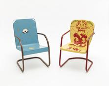 Jim Nutt, <I>I'm Wet</i>, 1969. Painted metal lawn chair. 33 x 20 1/4 x 27 inches; 84 x 51 x 69 cm.  Karl Wirsum, <i>Chairy Blossom</i>, 1969. Painted metal lawn chair. 32 x 20 x 26 inches; 81 x 51 x 66 cm.