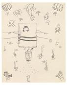 <I>Untitled (pillow, legs, towel)</i> c. 1966 Ink on paper 24 1/8 x 19 inches; 61 x 48 cm