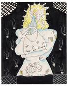 <I>Easy to Handle</i> 1968 Colored pencil, ink and cotton on paper  29 1/8 x 23 inches; 74 x 58 cm