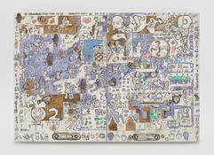 <I>Chocolate Chip Cookie</i> 1965 Oil on canvas, two panels  84 x 120 inches; 213 x 304 cm