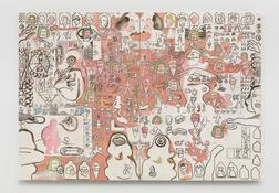 <I>Bare Shouldered Beauty and the Pink Creature</i> 1965 Oil on canvas, two panels 83 1/4 x 119 1/2 inches; 212 x 304 cm