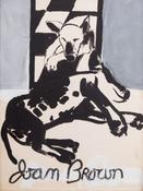 Joan Brown <I>Drawing for Exhibition Poster (Bob the Dog Twice)</i> 1961 Enamel on museum board 39 x 29 inches; 99 x 74 cm
