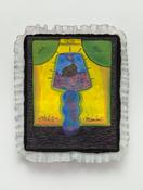 <I>Lamp Poem</i> c. 1969 Oil on canvas with fabric  18 1/2 x 15 1/2 inches; 47 x 40 cm
