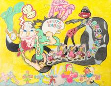 Peter Saul <I>Black Beauty White Shame</i> 1966 Wax crayon, ballpoint pen, and ink on cardboard 40 x 52 inches; 102 x 132 cm