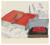 <I>Specimens on Pillow Bases</i> 1965 Graphite, acrylic, and colored pencil on paper 11 3/4 x 12 3/4 inches; 30 x 32 cm