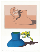<I>Acrobatic Frog Cups</i> 1968 Graphite and acrylic on lithographic proof on board 14 x 11 inches; 36 x 28 cm