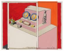 <I>Death Shrine</i> 1975 Graphite and acrylic on board  9 x 11 inches; 23 x 28 cm