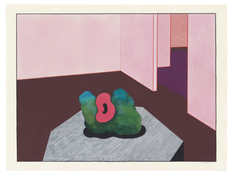 <I>Interior with Sculpture</i> 1990 Acrylic and ink on paper  18 x 24 inches; 46 x 61 cm