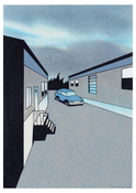 <I>Trailer Court at Dusk</i> 2005 Ink, acrylic, and colored pencil on paper  12 x 8 1/2 inches; 31 x 22 cm
