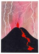 <I>Eruption and Lava Flow</i> 2003 Acrylic and ink on paper  8 x 5 3/4 inches; 20 x 15 cm