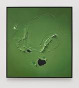 Paul Sietsema <I>Green painting</i> 2015 Enamel on linen in artist's frame 39 x 36 1/4 inches; 99 x 92 cm