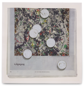 Paul Sietsema <I>Painted coins (white on green)</i> 2015 Ink and enamel on paper in artist's frame 34 x 33 1/2 inches; 86 x 85 cm
