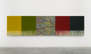 <I>Uphill with Center</i> 2012-2015 Oil on linen, five panels Four panels, each: 48 1/8 x 36 1/8 inches; 122 x 92 cm Center panel: 48 1/8 x 48 1/8 inches; 122 x 122 cm Overall: 48 1/8 x 192 5/8 inches; 122 x 489 cm