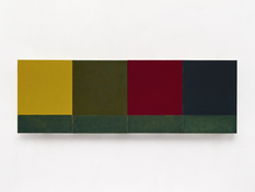 <I>Small Seasons</i> 2012-2015 Oil on linen, four panels Each: 24 x 18 inches; 61 x 46 cm Overall: 24 x 72 inches; 61 x 183 cm