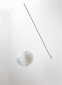 "<I>Globe</i> 2009-2010 Hand-constructed, hand-colored photo polymer from artist's drawing printed on Echizen Washi ""Shikibu"" Gampi paper, with wood pole, bracket and string Diameter: 12 inches; 31 cm"