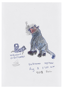 <I>Unknown Species, Berlin, August 2013</i> 2013 Ink, graphite, and colored pencil on paper  8 1/4 x 5 3/4 inches; 21 x 15 cm