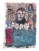 <I>The crowd descends, Berlin, September 2015</i> 2015 Ink, watercolor, acrylic, graphite and collage on paper 5 5/8 x 4 inches; 14 x 10 cm