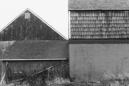 <I>Barns, Long Island</i> 1968 Gelatin silver print 8 1/2 x 12 7/8 inches; 22 x 33 cm
