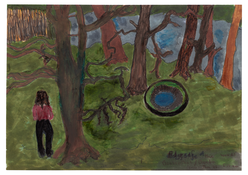 <I>Into the woods, Biesenthal, January 2016</i> (verso) 2016 Ink on paper, double sided  8 1/4 x 11 3/4 inches; 21 x 30 cm