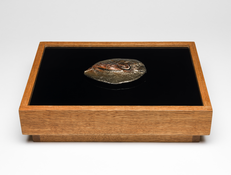 <I>Untitled</i> 1966 Fired and painted clay on wood and glass pedestal 3 1/2 x 12 x 9 inches; 9 x 31 x 23 cm