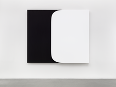 <I>White Form Over Black</i> 2015 Oil on canvas, two joined panels  75 x 86 7/8 x 2 3/4 inches; 191 x 221 x 7 cm