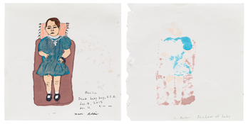 <I>The dead baby boy USA, Berlin, December 2015 / Shadow of baby, Berlin, December 2015</i> 2015 Ink and graphite on paper, dipytch  7 7/8 x 7 3/4 inches each; 20 x 20 cm each