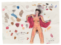 <I>The dumb hermaphrodite angel dancing in California, Berlin, August 2015</i>  2015 Ink, watercolor, and graphite on paper  8 x 10 3/4 inches; 20 x 27 cm