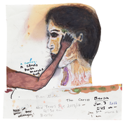 <I>The caress, Berlin, New Year's Eve, 2015/16 / The burnt face, New York, August 2016</i>  2016 Oil, ink, and graphite on paper, double sided  7 5/8 x 7 3/8 inches; 19 x 19 cm