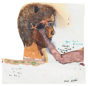 <I>The caress, Berlin, New Year's Eve, 2015/16 / The burnt face, New York, August 2016</i> (verso) 2016 Oil, ink, and graphite on paper, double sided  7 5/8 x 7 3/8 inches; 19 x 19 cm