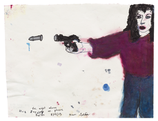 <I>Friday night alone, no one on the phone, Berlin, August 2015 / Girl with gun goes gray overnight, Berlin, February 2016</i>  2015–2016 Ink, oil, and graphite on paper, double sided  8 1/8 x 10 1/2 inches; 21 x 27 cm