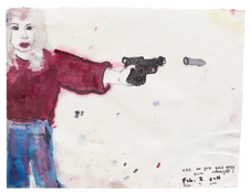 <I>Friday night alone, no one on the phone, Berlin, August 2015 / Girl with gun goes gray overnight, Berlin, February 2016</i> (verso) 2015–2016 Ink, oil, and graphite on paper, double sided  8 1/8 x 10 1/2 inches; 21 x 27 cm