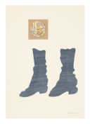 <I>Two Boots</i> 1966 Ink and collage on board  20 5/8 x 14 1/2 inches; 52 x 37 cm