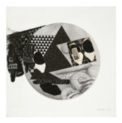 <I>Untitled (Cage, Picasso, Magritte, Donald Tru)</i> 1972-90 Ink and collage on board  17 3/8 x 17 inches; 44 x 43 cm