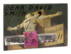 <I>Untitled (Dali/Dear David Smith/Barbra Streisand)</i> 1974-94 Ink and collage on board  9 3/4 x 13 3/8 inches; 25 x 34 cm