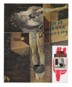 <I>Untitled (Dali/Courbet/Dear Marilyn Monroe)</i> 1975-94 Ink and collage on board  15 x 12 1/4 inches; 38 x 31 cm
